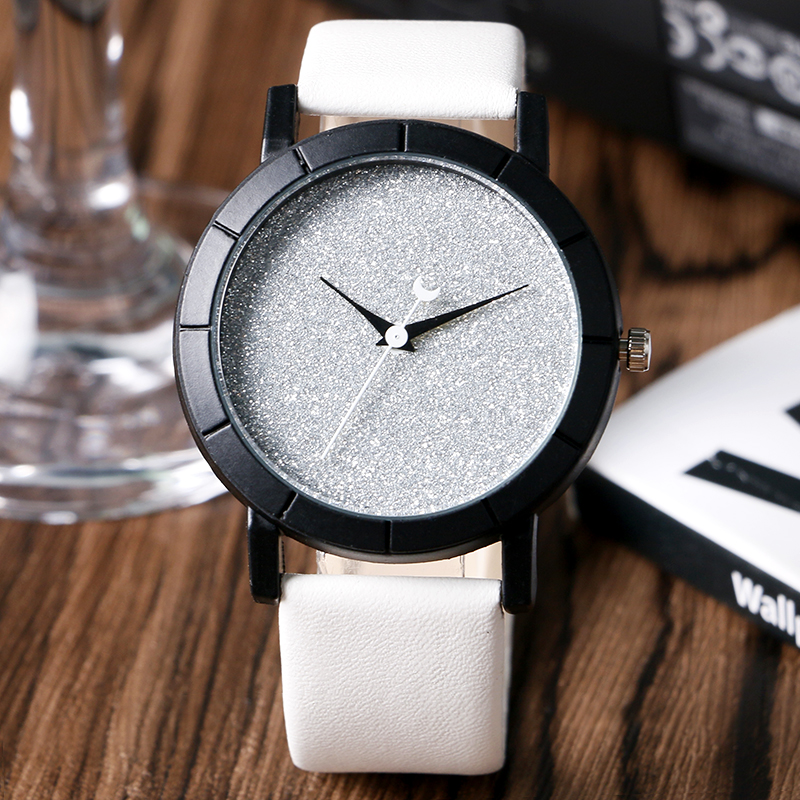2016 Women Watch Fashion Moon Hands Blooming Glitter Trendy Unique Wrist Watch Ladies Dress Watches Montre Femme Online Sale