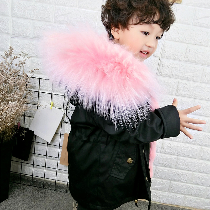 JKP 2018 children's real natural fur coat girls baby big collar overcome rabbit fur coat winter fashion cotton jacket CT-68 basic editions fall winter brown metallic silk fabric cotton coat with rabbit fur collar with belt covered button 7001d11