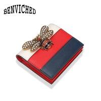 2017 Fashion Brand Bee Bag Wallet Genuine Leather Women Short Wallets Short girl buckle wallet ladies S027