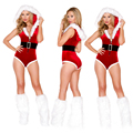 2016 New Fashion Adult Ladies Women's Sexy Christmas Costume Jumpsuits Cute Hooded Beading Red Party Rompers shoe vovers +belt
