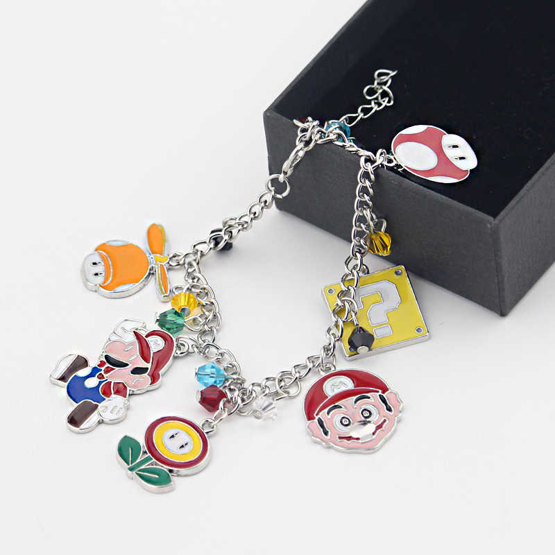 New Design Super mario bros Piranha Plant star aolly cabochon charms bracelet DIY handmade gift for girls jewelry accessories