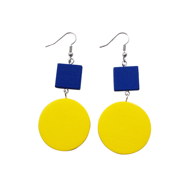 Popular Korea contracted double color is pure and fresh joker the earring of temperament individual character long