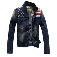 Mannen Jas Gebreide Denim Jas USA vlag offsetdruk jasje Jeans 2018 Lente Mannen Lederen Patchwork Verontruste Jas