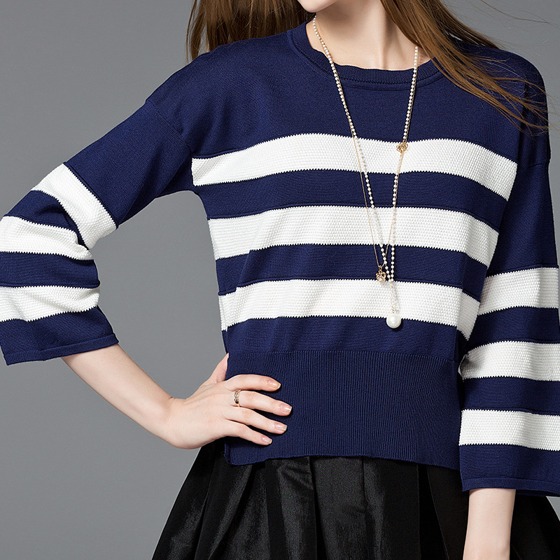 7477160eb3 Aliexpress.com   Buy New fashion quality autumn flare sleeve women sweater  loose big size striped modal cotton knitted women sweater hot sale from  Reliable ...