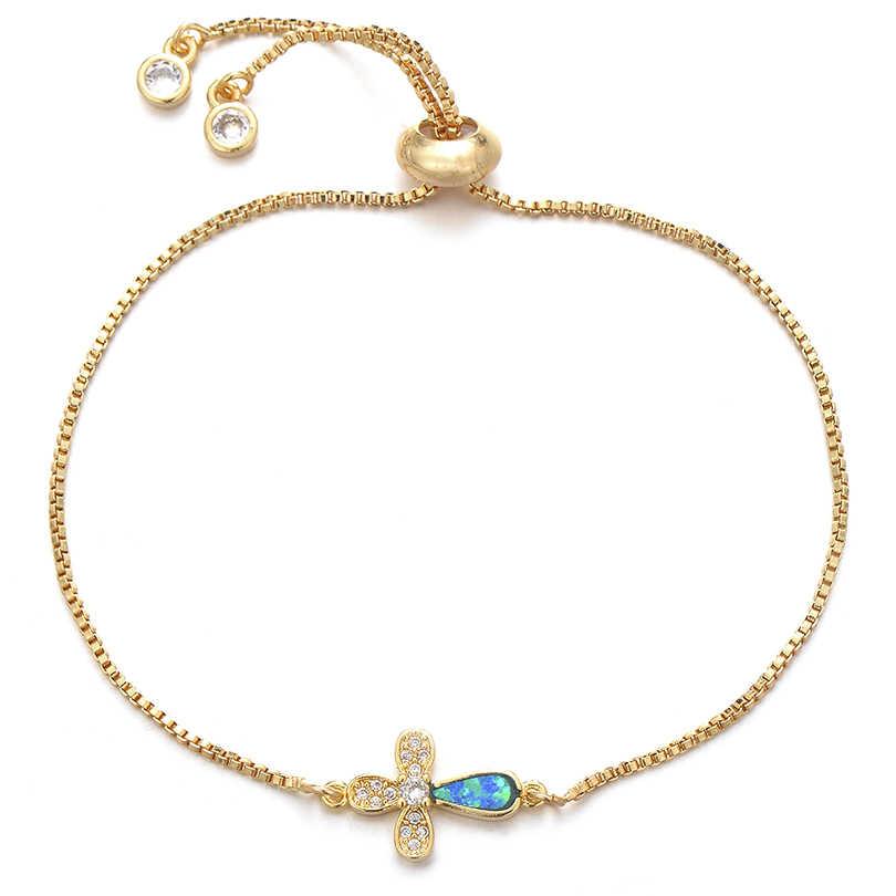 Pipitree כחול אש אופל קסם צמיד נחושת מעוקב Zirconia צלב צמידי לנשים מתכוונן שרשרת תכשיטי pulsera דה mujer