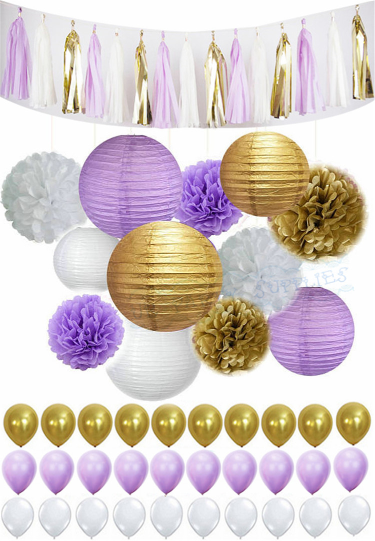 Buy Purple And Gold Baby Shower Decorations And Get Free Shipping On