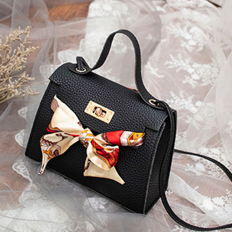 THINKTHENDO Women PU Leather Handbag Shoulder With Scarf Decor Lady Crossbody Bag Tote Messenger Satchel Purse 17.5x7.5x12.5cm
