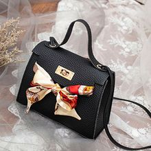 THINKTHENDO Women PU Leather Handbag Shoulder with Scarf Decor Lady Crossbody