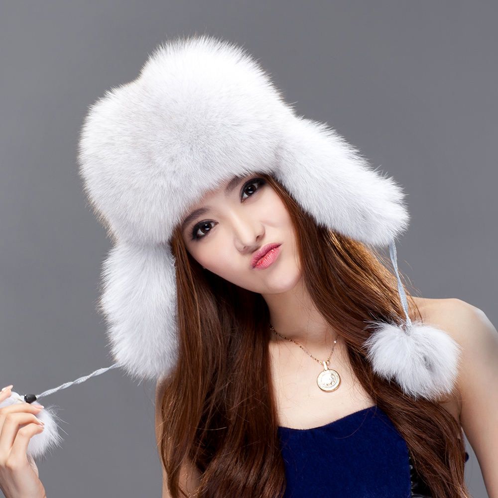 05405938c63 URSFUR Women s Genuine Fox Fur Russian Ushanka Hats With Pom Poms Winter Ear  Flaps Bomber Trapper cap white silver color-in Bomber Hats from Apparel ...