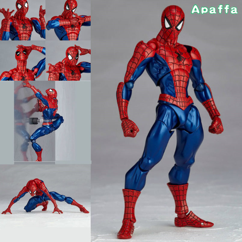 Movie & TV Revoltech Series NO.002 Spider Man Spider-man PVC Action Figure Collectible Model Toy Children Christmas Gift 16cm series no 001 revoltech deadpool venom no 003 spider manno 002 004 iron man with bracket pvc action figure collectible model toy