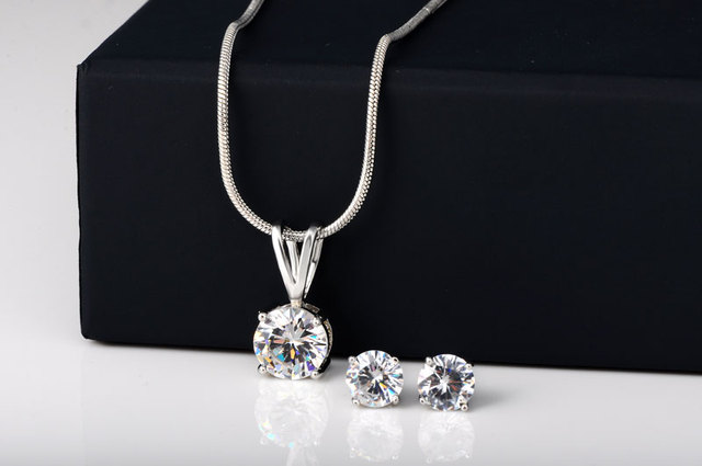 Fashion CZ Necklace Earring Jewelry Sets Wholesale Silver Plated Snake Chain Necklace Stud Earring Wedding Bridal Engagement