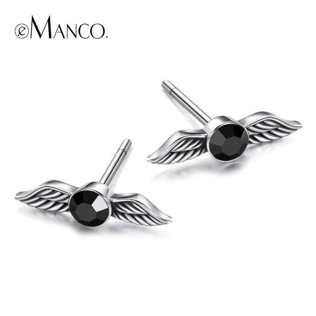 e-Manco 925 Silver Wing Earrings Zircon Black Stud Earrings Simple Earrings Part