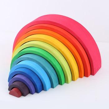 12 Pcs/Lot Baby Toys Rainbow Blocks Wooden Rainbow Stacker Creative Montessori Building Blocks Nesting Puzzle  Educational Toys