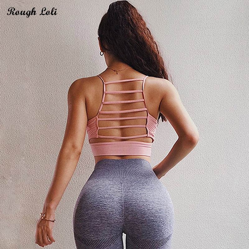 Rough Loli Pink Seamless Sports Bra For Women Gym Crop Top