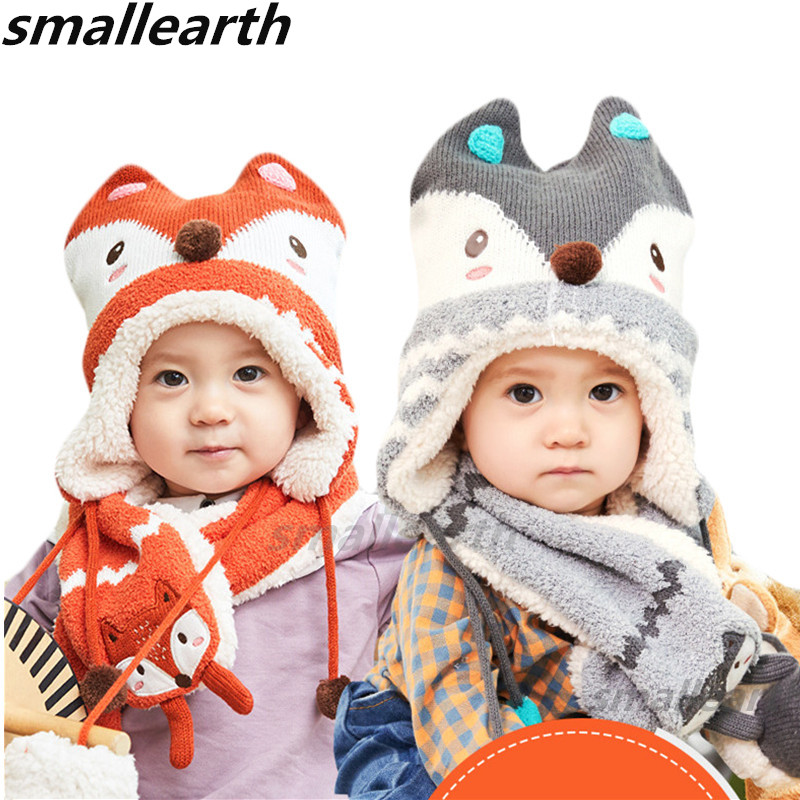 New Autumn Winter Children's Hat Scarf Set Cute Fox Baby Cap Boys Caps Girls Hat Scarf Set Warm Thick Velvet Baby Hat Scarf Sets