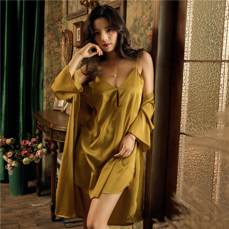 New Women s Dressing Gown With Bathrobe Nightwear Set Robe 2 Pieces Pink Silk Sleepwear Spring