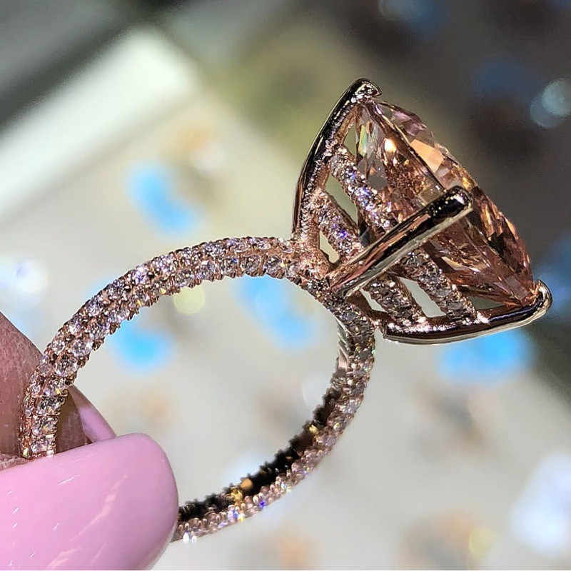 ZORCVENS 2019 Fashion Luxury Wedding Jewelry Gold Color Big Champagne Gold Zircon Female Ring for Woman