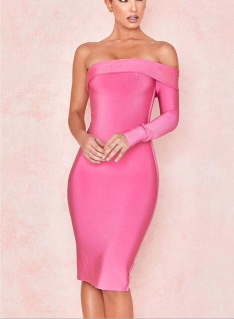 Célébrité fête Bandage robe une épaule rose rayonne élégante boîte de nuit moulante robes femmes