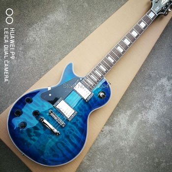 Customized dark blue, wavy, left-handed LP electric guitar, good sound, guitar soundtrack, free shipping in 1959