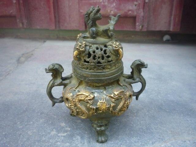 Коллекционная Цинь бронзовая фигурка периода династии позолоченный дракон ладан \ курильщик, украшение