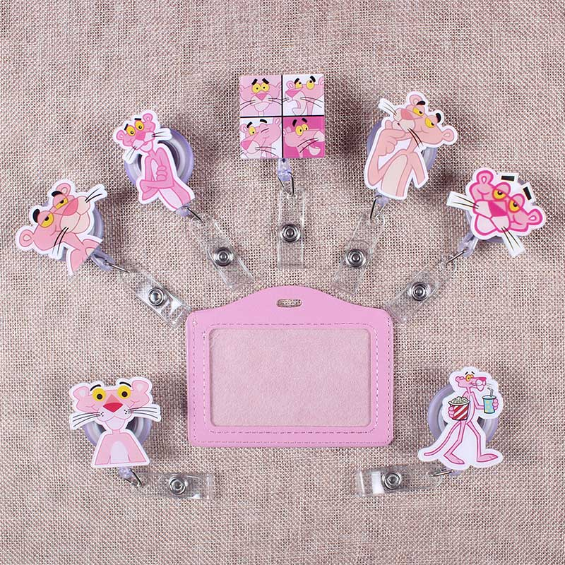 Cute Pink Of Panther The Porte Badge Scroll Nurse Reel Scalable Students Exhibition Entrance Guard Card ID Card Holder For Cards