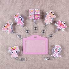 Cute Pink Of Panther The Porte Badge Scroll Nurse Reel Scalable Students Exhibition Entrance Guard Card ID Holder For Cards