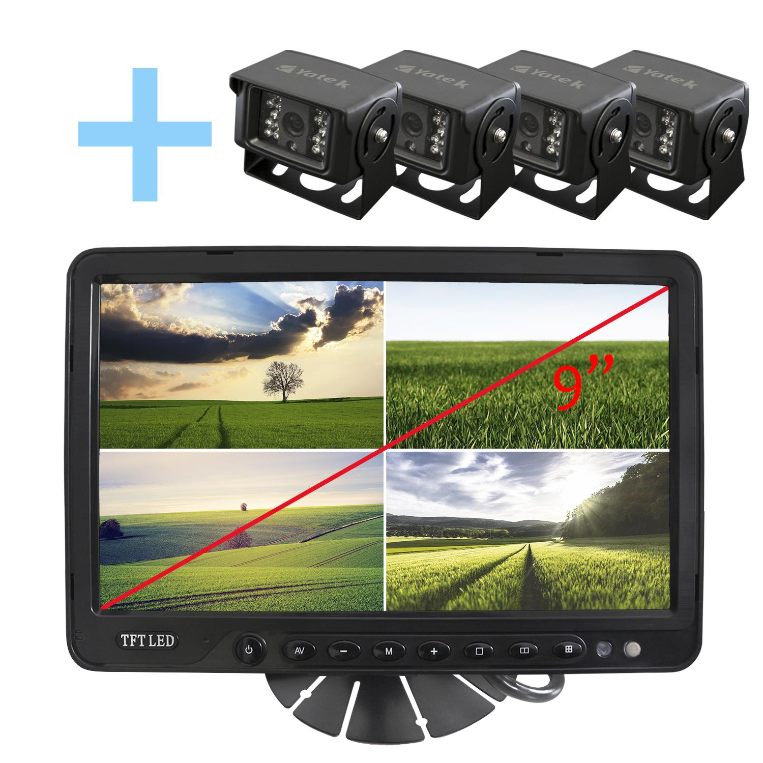 Kit with Screen LCD Quad TFT 9 + 4's still cameras rear vision for optical parking SONY and infrared