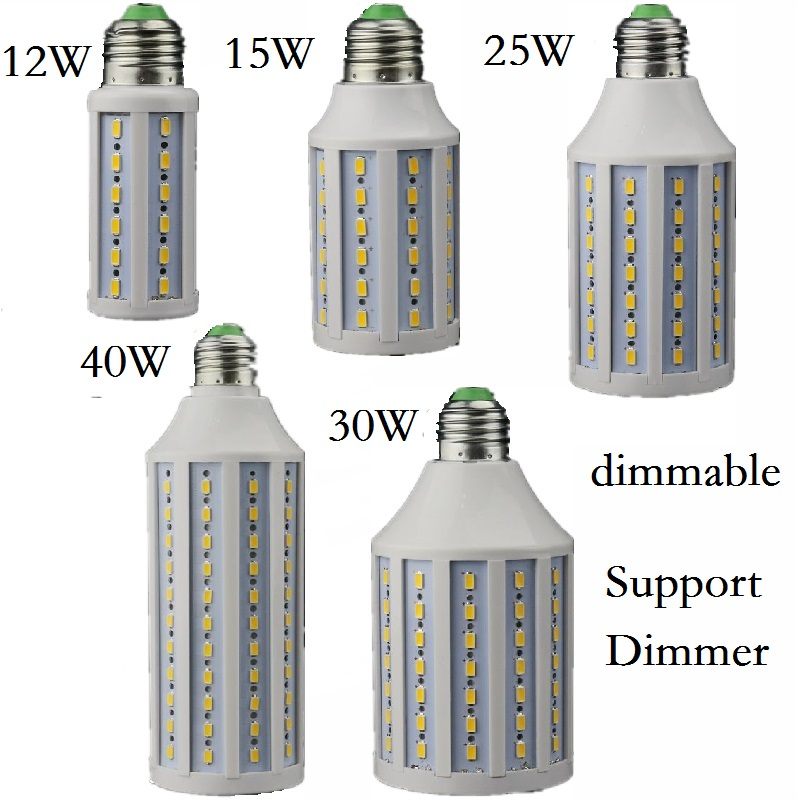 Диммируемая Светодиодная лампа E27 E26 B22 E14 B15, 12 Вт, 15 Вт, 25 Вт, 30 Вт, 40 Вт, с поддержкой диммера, светодиодные лампочки Кукуруза прожектор