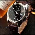 Yazole Quartzo Relógio de Ponteiro Luminoso Relógio Calendário Dos Homens de Negócios de Alto Grau de Couro Grandes Homens de Marcação Relógios Relogio Musculino