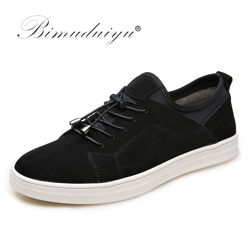 BIMUDUIYU Trend Casual Shoes For Men Fashion Light Breathable Lace-up Male Shoes High-quality   Suede     Leather   Black flats Shoes