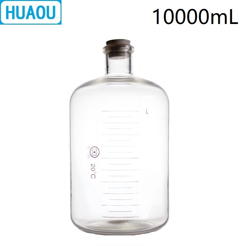 HUAOU 10000mL Glass Serum Bottle 10L Narrow Mouth with Graduation and Rubber Stopper Laboratory Chemistry Medical Equipment
