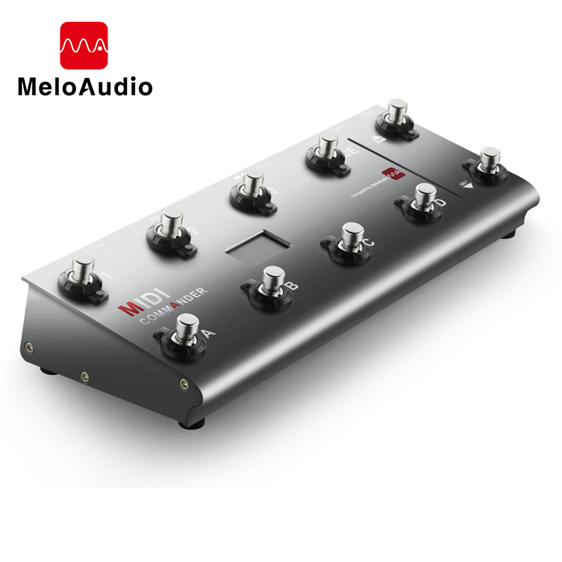 MIDI Commander Guitar Portable USB MIDI Foot Controller With 10 Foot Switches 2 Expression Pedal Jacks 8 Host PresetsMIDI Commander Guitar Portable USB MIDI Foot Controller With 10 Foot Switches 2 Expression Pedal Jacks 8 Host Presets