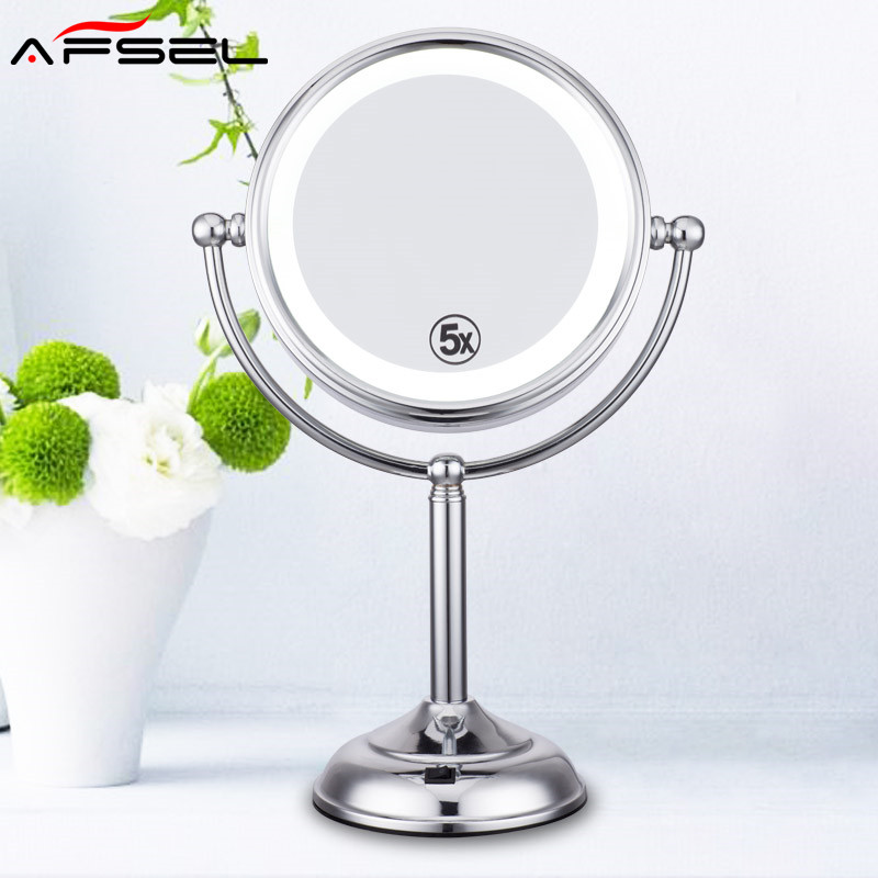 AFSEL Superior quality 8 inch Desktop Makeup Mirror 2-Face Metal  5X Magnifying  AA Battery LED lamp Table Mirror Beauty Mirror large 8 inch fashion high definition desktop makeup mirror 2 face metal bathroom mirror 3x magnifying round pin 360 rotating