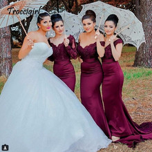 Sexy Lace Burgundy Bridesmaid Dresses 2018 hot Mermaid Long Sleeve Beaded Dress Formal Maid Of Honor plus size