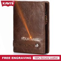 KAVIS Brand Design Genuine Leather Wallet Men Portomonee PORTFOLIO Magic Male Cuzdan Slim Card Holder Perse