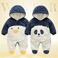 2017 Inverno Bonito Preto Pinguim Panda Bebê Macacão Grosso Coral Cashmere Outerwears Roupas de Bebê Estilo Animais