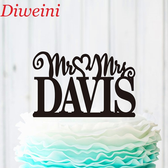 Wedding Mr Mrs Cake Topper Personalised Decoration With Last Name