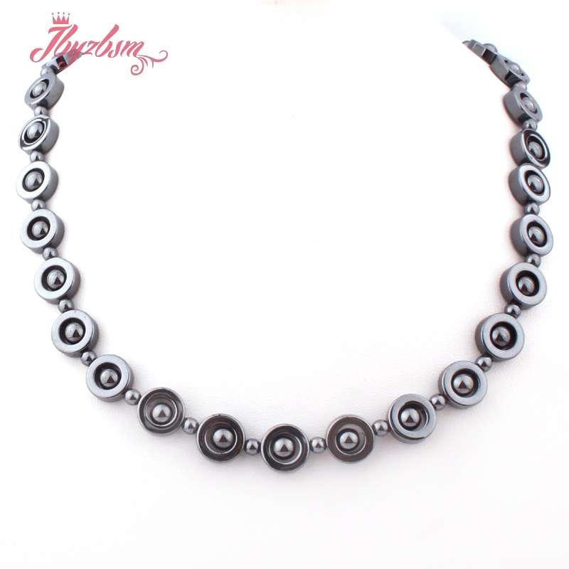 """12mm Schwarz Münze (keine Magnetische) Hämatit Natürliche Stein Perlen Für Dame Frau Tribal Mode Schmuck Halskette 17,5 """"freies Verschiffen QualitäTswaren"""