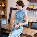 New Arrival Vintage Chinese Style Women Short Velour Cheongsam Qipao Summer Novelty Print Sexy Dress M L XL XXL XXXL