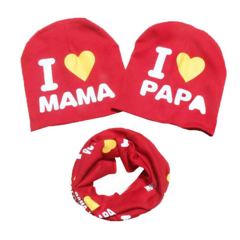 Winter Warm Baby Hat Toddler Kid Girls Boys Infant Fashion Letter Printed Crochet Knit Beanie Scarf Hat