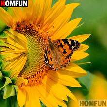 HOMFUN Full Square/Round Drill 5D DIY Diamond Painting Sunflower flower 3D Embroidery Cross Stitch Home Decor A21346