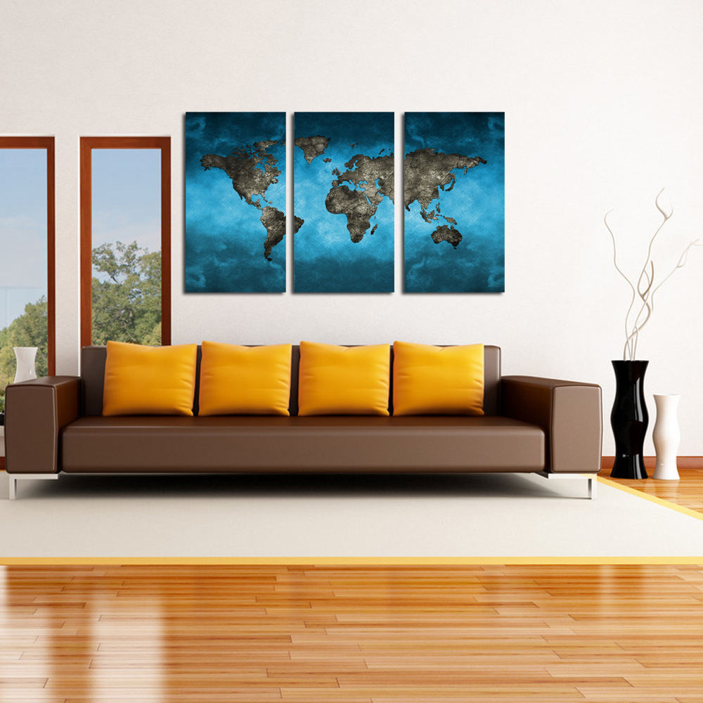 compare prices on large contemporary art online shoppingbuy low  - blue world map extra large modern contemporary giclee canvas print picturesphoto paintings on canvas wall