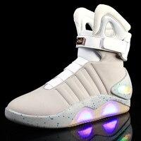 Для мужчин с волоконно оптический светодиодный свет обувь 2 цвета зарядка через usb мигающие кроссовки носимых Единственным ботильоны