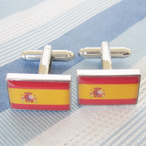 Spain Flag Cufflink 15 Pairs Wholesale Free Shipping