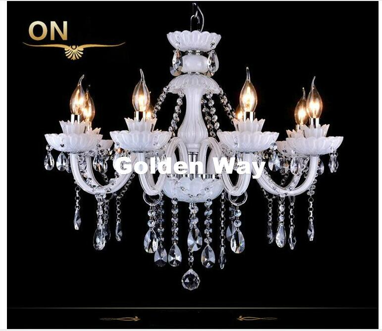 hot selling smoked k9 crystal chandelier lustre crystal chandeliers lustres de cristal chandelier e14 led ac lampshades included European Modern White K9 Crystal Chandelier Lustre Crystal Chandeliers Light Lustres De Cristal Chandelier LED Villa White Lamp