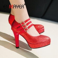ENMAYER 2019 Platform Pumps Women Sexy High Heels Shoes  Round Toe Party Solid Size 34-43 LY1828