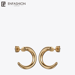 Enfashion Punk Geometric Teeth Stud Earrings Gold color Ear Jacket Stainless Steel Earrings for Women Earings Jewelry EB171041