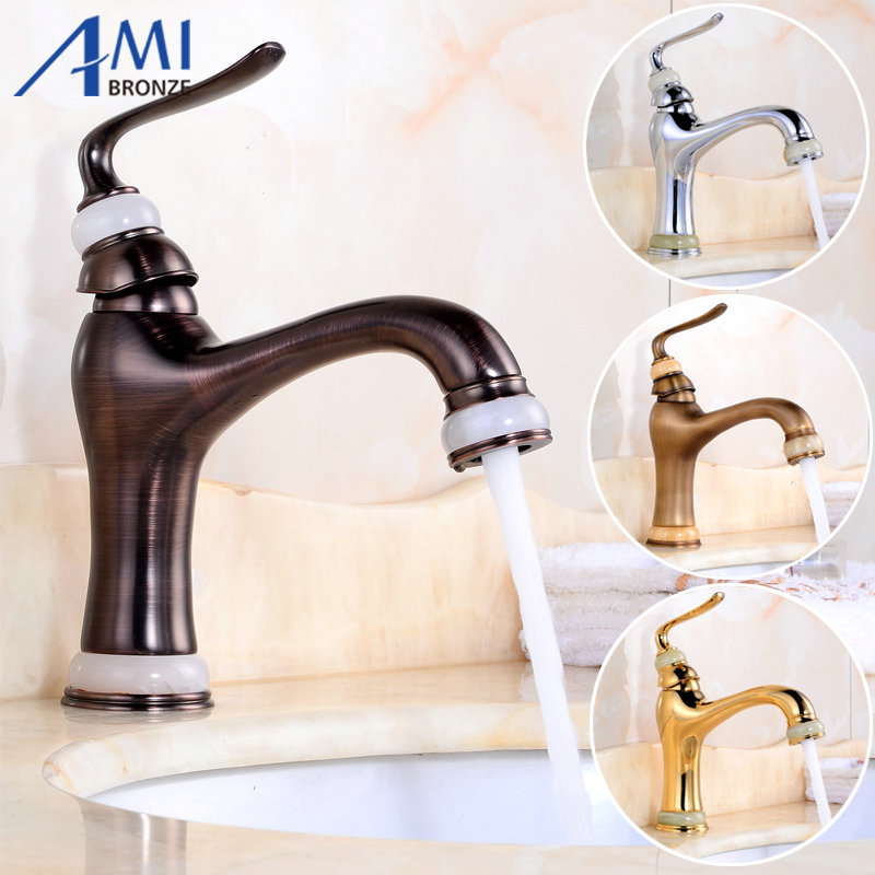 ФОТО Newly Basin Faucet Brass & Jade Spout/Base Bathroom Faucets Hot Cold  Mixer Tap  Waterfall Faucets Chrome/Antique/Gold/ORB 7312
