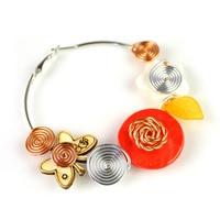 Orange Wire Wrapped Women Beach Earrings Cheap Hoop Earrings Er 559