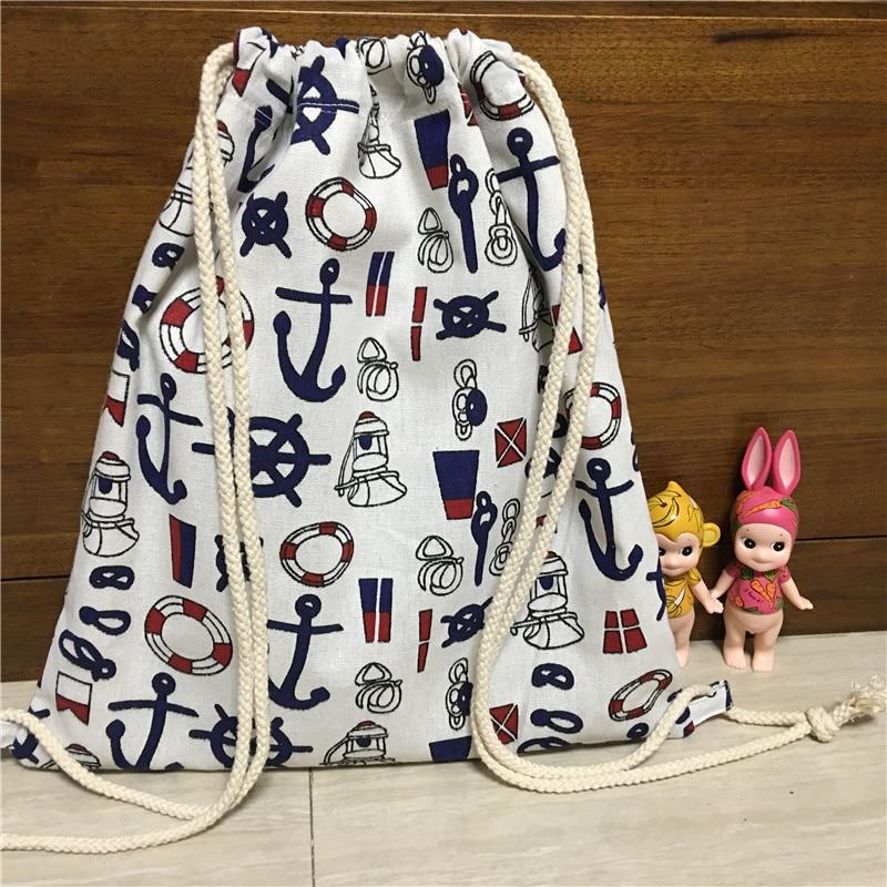 YILE Cotton Linen Lining Drawstring Travel Backpack Book Bag Print Rudder Anchor Buoy 17123-2YILE Cotton Linen Lining Drawstring Travel Backpack Book Bag Print Rudder Anchor Buoy 17123-2
